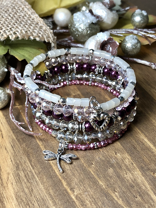 Dragonfly in Jeweled Plum and Champagne