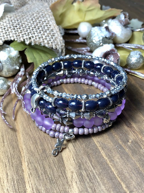 Tiny Moon & Stars in Mixed Purple