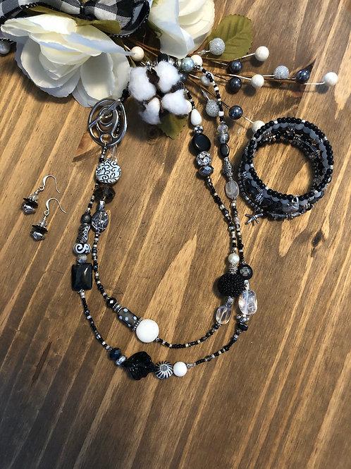 Classic Black and White Long Lariet & Wrap 3 piece Bundle