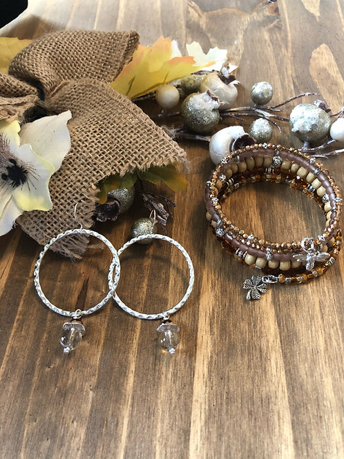 Touch of Brown Earring & Wrap  Bundle