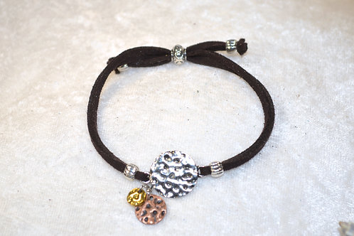 Mixed Metal Dimpled Disc in Espresso Brown