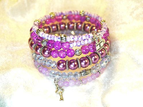 Tiny Lock & Key in Mixed Purple