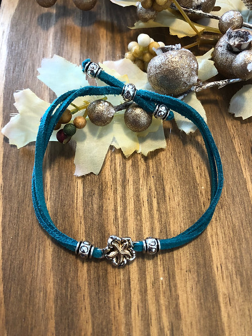 Tiny Golden Starfish in Teal