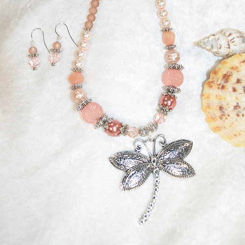 Dragonfly in Soft Blush & Peach