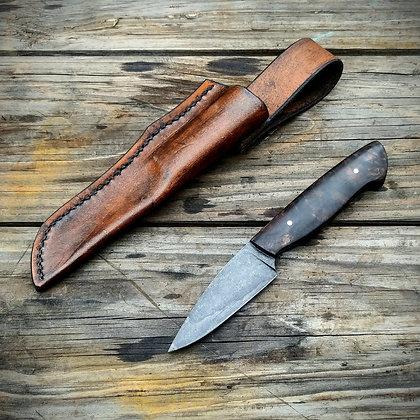 Bird and Trout knife- walnut burl