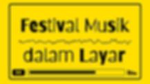 """Tulisan """"Festival Musik dalam Layar"""" berwarna hitam dan berlatar kuning, dengan grafik audio dan buffer video yang statis"""