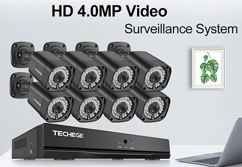 Techege h.265 8ch 4mp poe nvr cctv 카메라 시스템