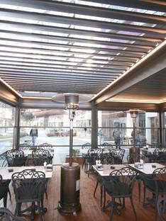 옥상 식당 루버 차양
