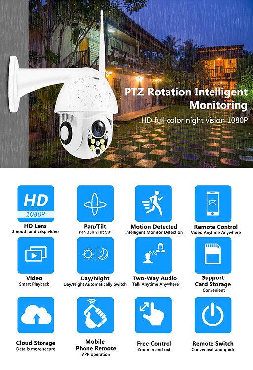 PTZ 1080P 무선 IP 카메라