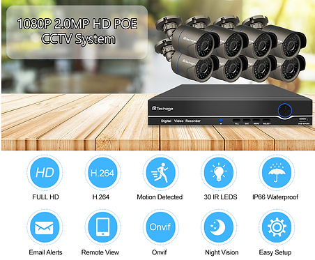 NVR POE 8Ch CCTV 보안 시스템
