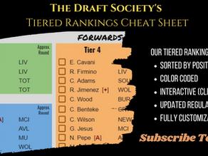 EPL Draft Tiered Rankings Cheat Sheet