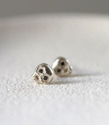 Black Mini Muertos Earrings/ 14K gold and black diamond