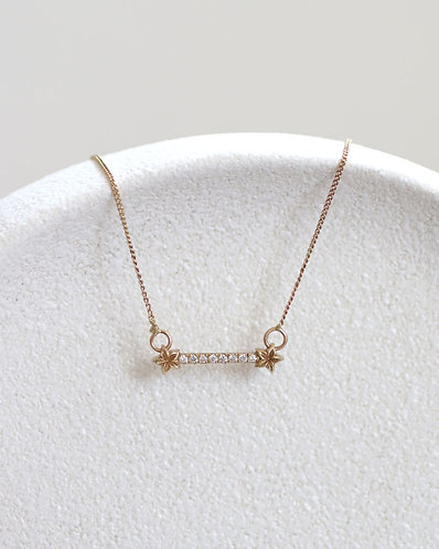Flower Bar Necklace/ 14k gold and diamonds