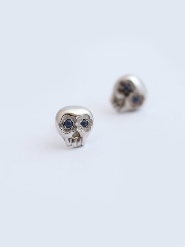 Mini Muertos Earrings/ 14K gold and sapphires