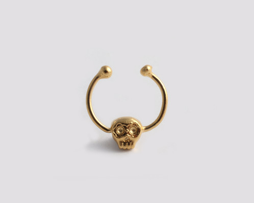 Fake Skull Septum gold Skull Jewelry Israel Ya Jewelry