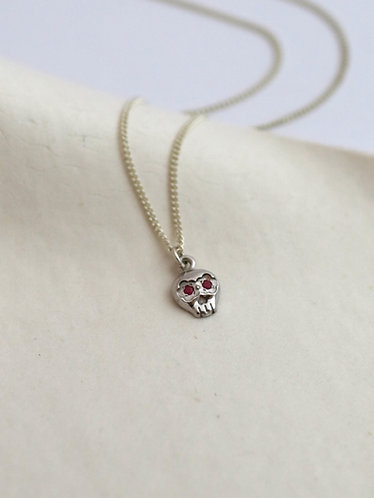 Mini Muertos Necklace/ 14k gold and rubies