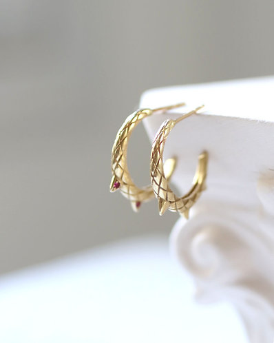 Red Dragon Tail Earrings/ 14k gold and rubies