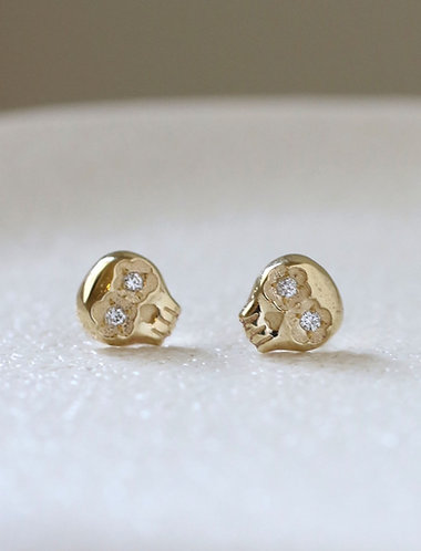 White Mini Muertos Earrings/ 14K gold and diamond