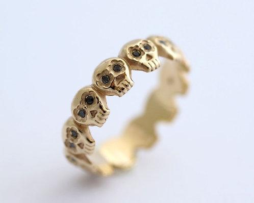 Los Muertos Ring/ 14k gold with black diamonds