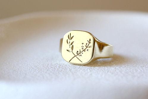 His Herbal Ring/ 14k  gold
