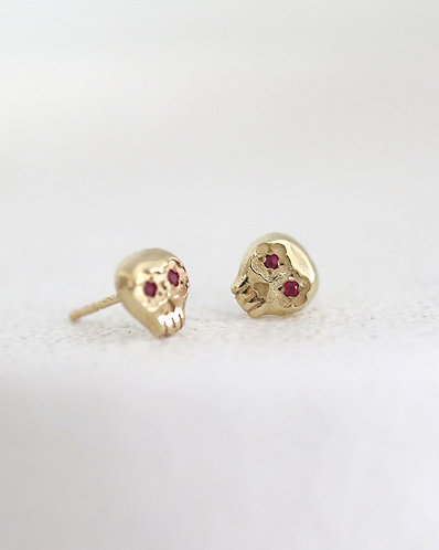 Mini Muertos Earrings/ 14K gold and rubies