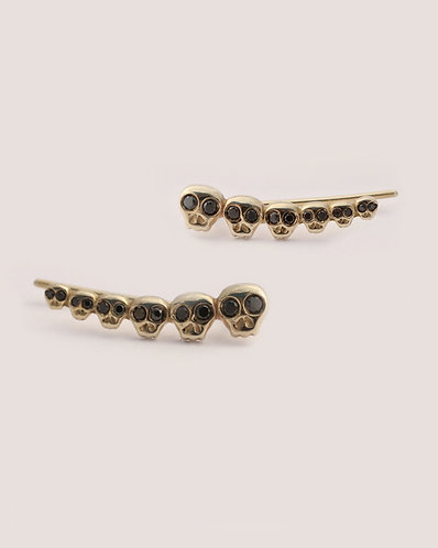 Skull Ear Cuffs/14k gold and black diamonds