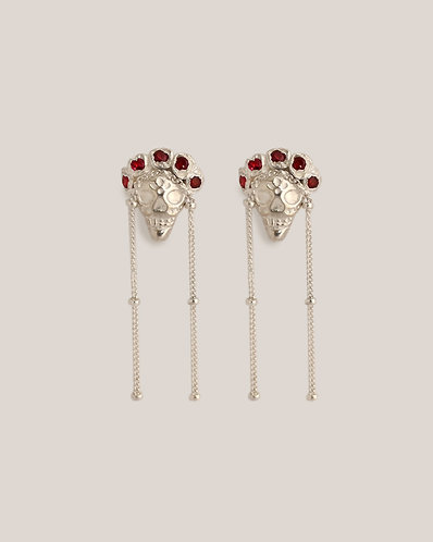 Ruby Frida Earrings/ silver with rubies