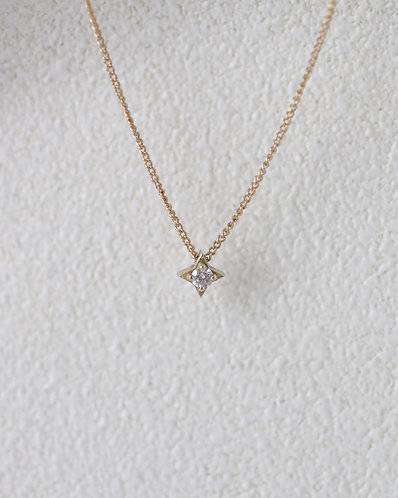 Compass Necklace/ 14k gold with diamond