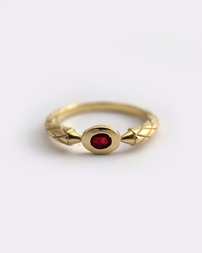 Dragon Claw Ring/ 14k solid yellow gold and ruby