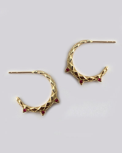 Dragon Tail Earrings/ 14k gold and rubies