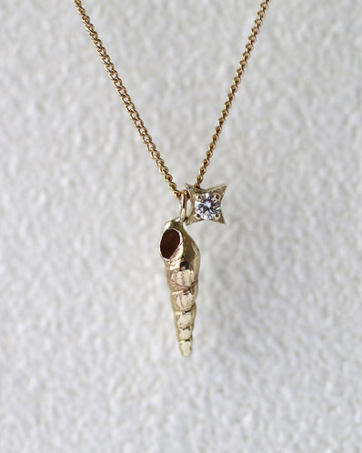 Ursula Necklace/ 14k gold and diamond