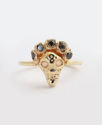 Frida in Black Ring/ 14k gold with black diamonds