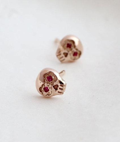 Mini Muertos Earrings/ 14K gold and rubies
