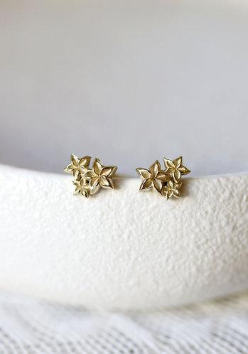 Floral Cluster Earrings/ 14K gold