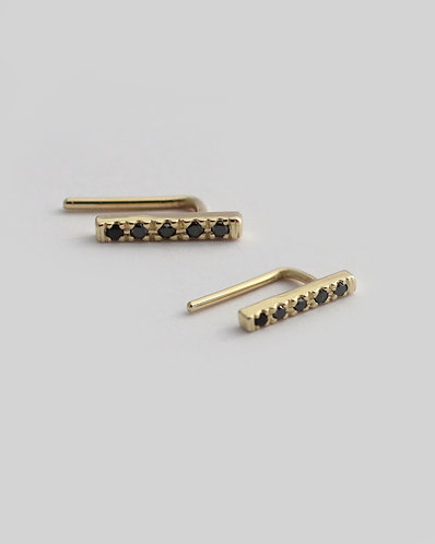 Mini Ear Cuffs/14k gold and black diamonds