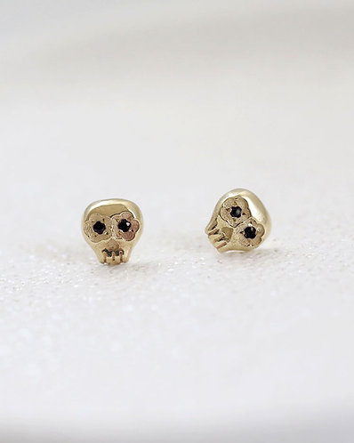 Black Mini Muertos Earrings/ 14K gold and black diamond