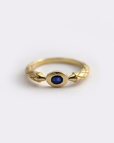 Dragon Claw Ring/ 14k gold and sapphire