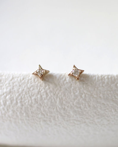 Compass Earrings/ 14K gold with diamonds