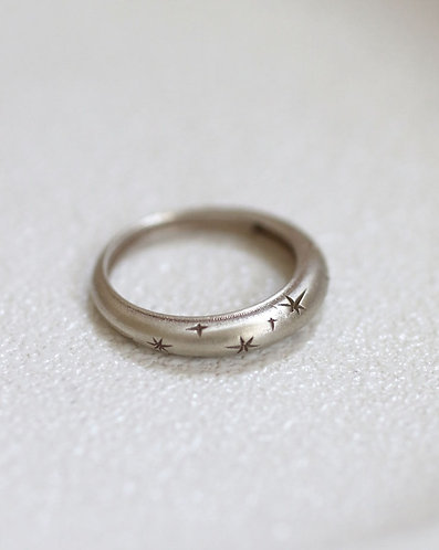 White Celestial Ring/ 14k solid white gold