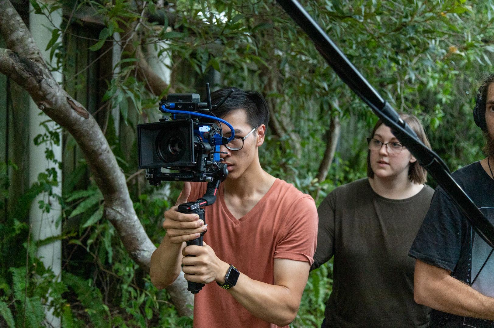 Amanda Kaye (Director) with Chris Chung (Gimbal Operator)