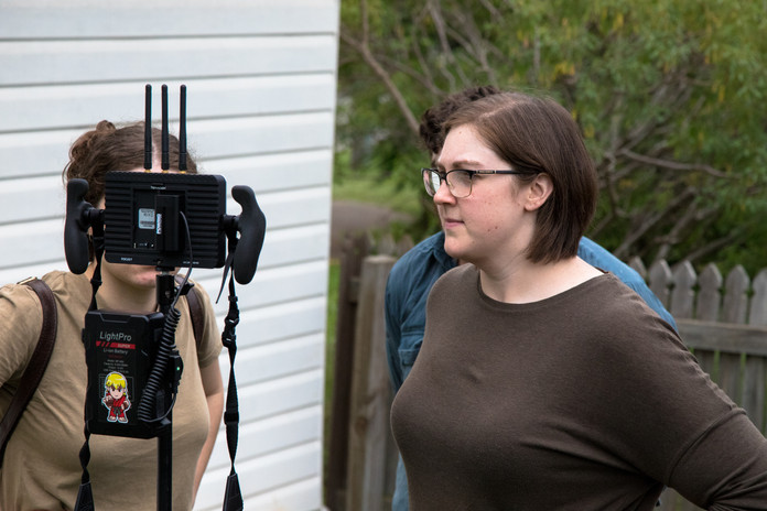 Director Amanda Kaye watching playback