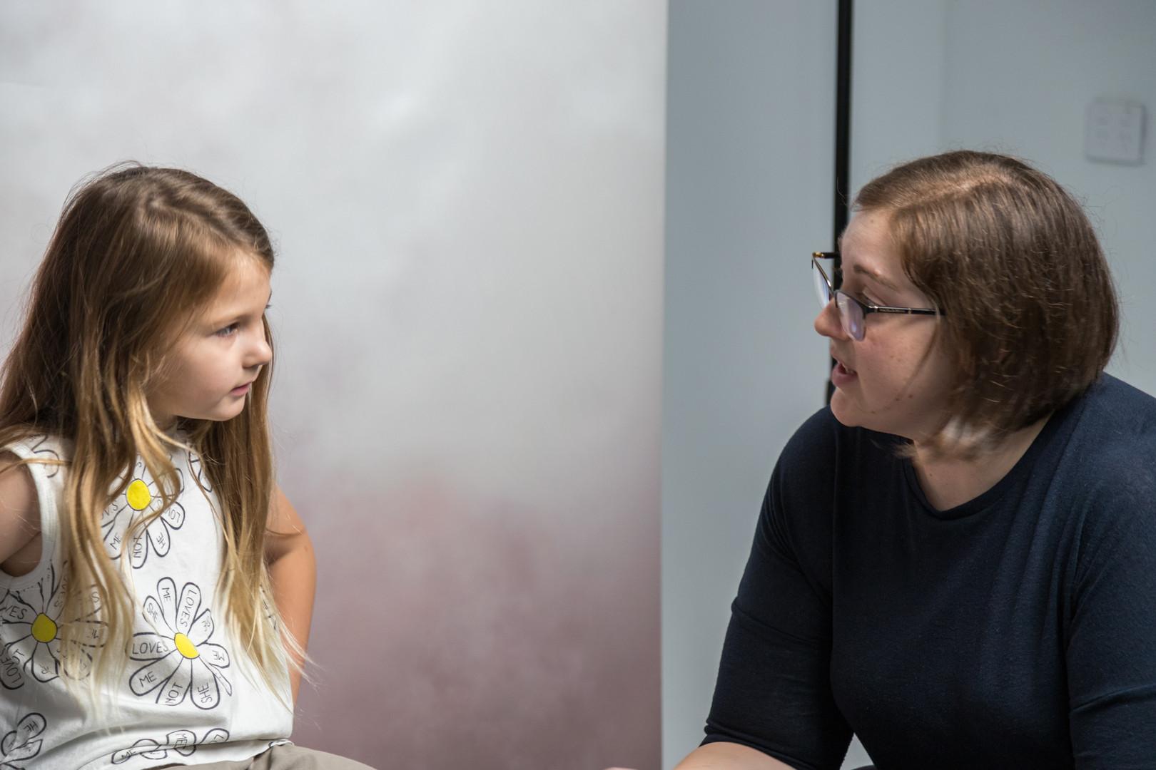 Amanda Kaye (Director) talking with Willow Viney (Jacqualine)