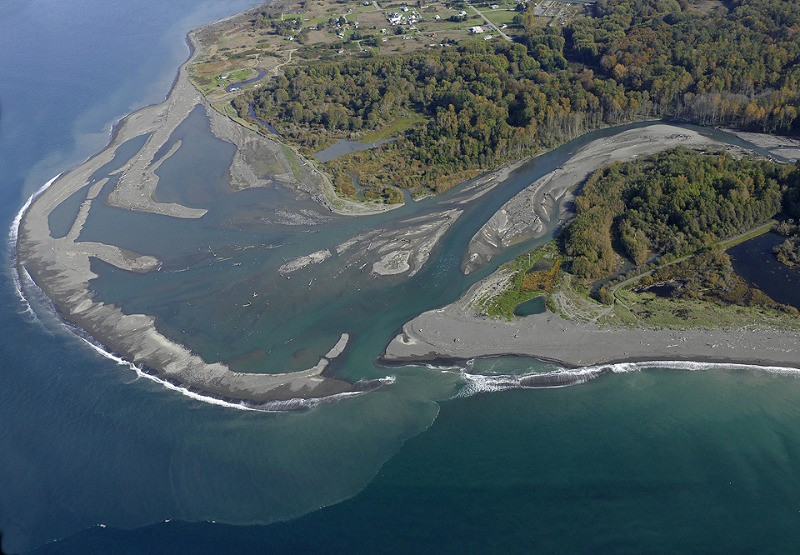 Mouth of Elwha River after dam removed