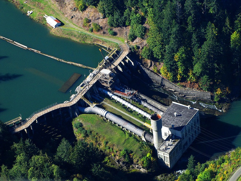 One of the Elwha River dams before removal