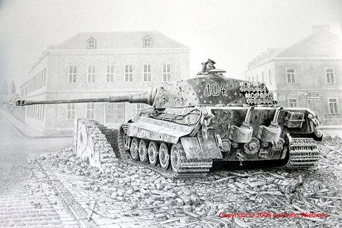 Original Gemälde Königstiger 104 Westfront 1945