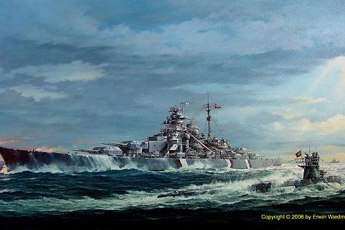 Original Gemälde HMS Bismarck und U 556