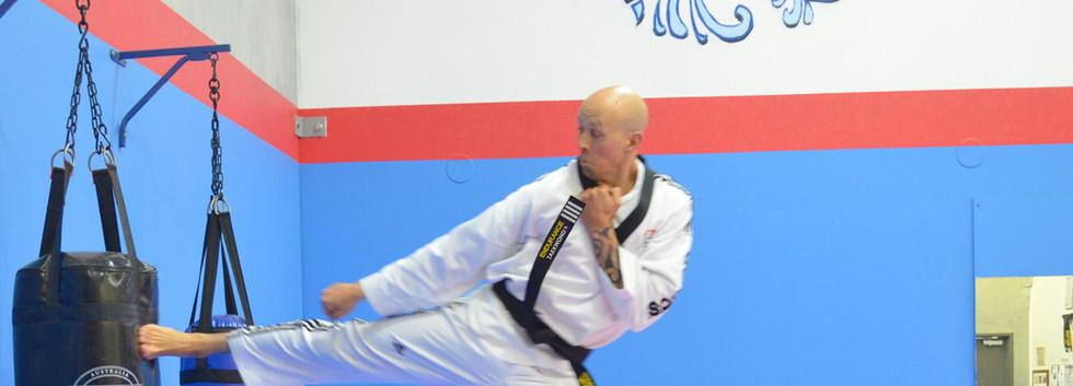 Master Al flying side kick