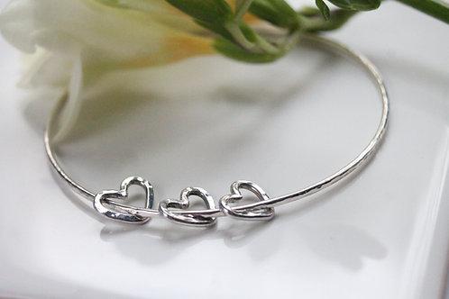 Silver Hearts Bangle