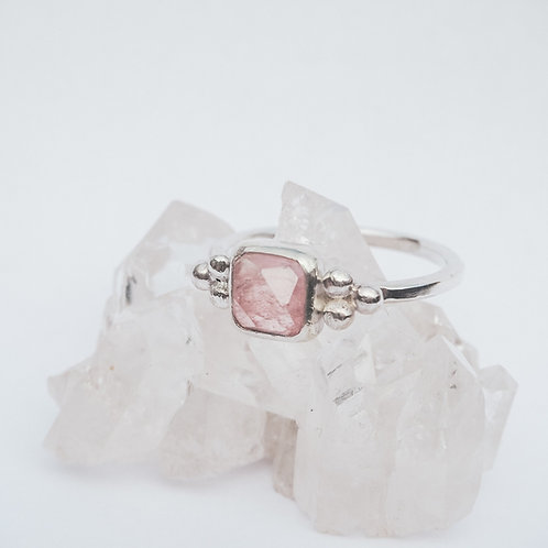 Pink Tourmaline Triad Ring