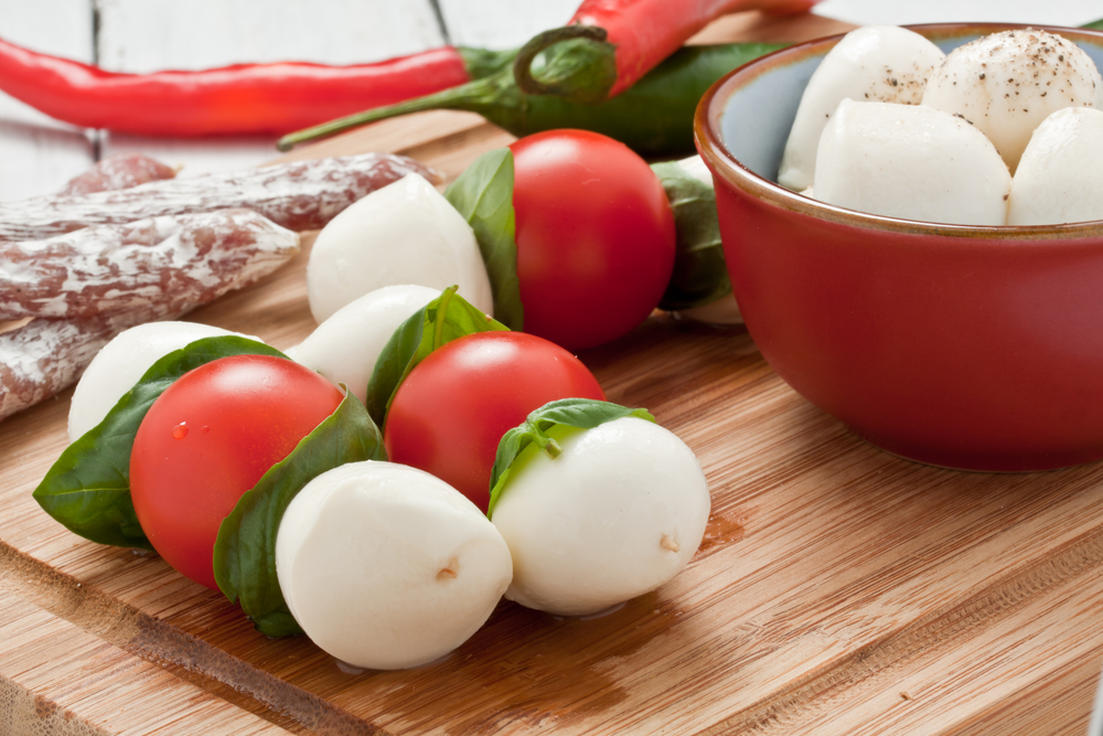 Caprese Skewers with Mozzarella